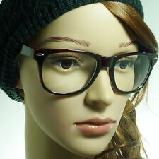 RETRO Oversized Geek Nerd Unisex Frame Fashion Clear Lens Eye Glasses TORTOISE