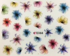 Nail Art 3D Decal Stickers Watercolored Flowers E366