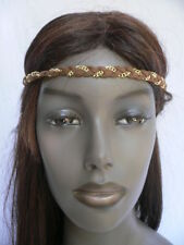 NEW WOMEN ELASTIC FABRIC BROWN GOLD HEAD CHAIN JEWELRY 80'S FASHION HAIR BAND