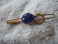 Vintage Tie Clip Tack Clasp with Purple/Blue Stone