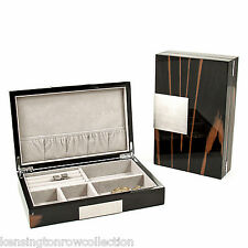 MENS GIFTS - LACQUERED WOOD VALET BOX - EBONY BURL WOOD FINISHED BOX