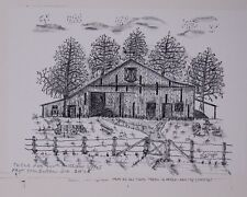 Western Oregon Barn w Wagon Old West Pen and Ink Drawing by Jim Stubbs Inscribed