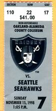 11/15/98 RAIDERS/SEAHAWKS TICKET STUB