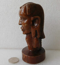 "Vintage carved wooden head 6"" African tribal wood carving Stretched ear lobes"