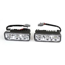 sourcingmap Car Vehicle DRL White 3 LED Daytime Running Lights Head Lamp 9W 2...