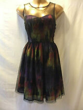LADIES NwoT Be Beau 10 BLACK MESHY/PURPLES+LIMES ABSTRACT/SLEEVELESS PARTY FROCK