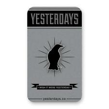 NEVER MORE HARD ENAMEL POLISHED SILVER PLATED LAPEL PIN