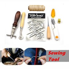 7pcs Leather Craft Hand Stitching Sewing Tool Thread Awl Waxed Thimble Set Kit