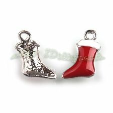 30x Wholesale Bulk Alloy Enamel Christmas Foots Pendants Fit Decoration DIY L
