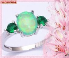 Triumphant Fiery Green Opal Green Emerald 925 Hallmarked Silver Ring Size 8 - P