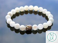 Buddha Moonstone Natural Gemstone Bracelet 7-8'' Elasticated Healing Stone Reiki