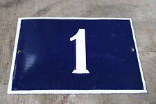 VINTAGE ENAMEL Number  PORCELAIN TIN SIGN Plate HOME / HOUSE DOOR NUMBER 1