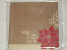 """10 Spritz 4"""" Poinsettia Paper Coasters Christmas Holiday Beverage Drink Red"""