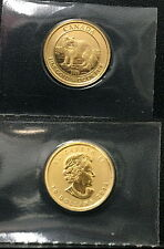 2014 CANADA $10 GOLD BU ENCASED 1/4 OUNCE PURE GOLD COIN--WILD WOLF AND QUEEN