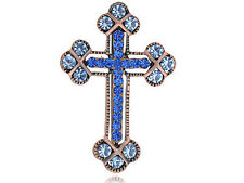 Crystal Cross Scared Religious Vintage Broach Necklace Gift Pin Brooch pendant