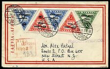 Lettland Latvia 1933 Africa Flight Complete on Registered Cover to USA Genuine