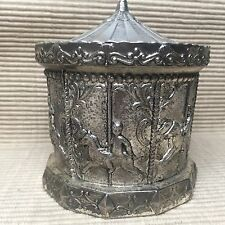 Vintage Cast Metal Carousel Coin Bank Piggy Bank Merry Go Round Bank