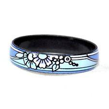 Bijou bague anneau entièrement émaillé fleur fresque bleu T 58 ring