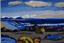 "A402 ORIGINAL ACRYLIC ART ACEO PAINTING BY LJH  ""SEASHORE"" HOMAGE TO GROUP OF 7"
