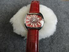 Faded Glory Quartz Ladies Watch with a Red Leather Band