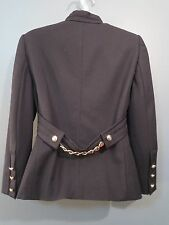 Gucci Black Wool Mandarin Collar Ribbon Chain Detail Blazer Jacket Size 38