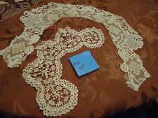 Lot of 2 Antique Victorian Edwardian Hand Crocheted Collars Fancy Lace Off White