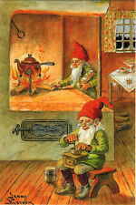GNOMES PREPARE FOOD IN THEIR HOUSE by Jenny Nyström Modern Russian card