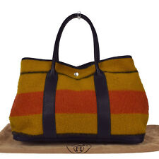 Authentic HERMES Garden Party PM Rocabar Shoulder Bag Wool Leather Brown 77K636