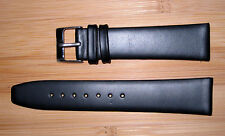 18mm Men's Flat Watch  Band/Strap Black Genuine Leather Gold  Buckle