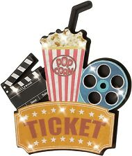 Home Theater Decor Wall Accent Lighted Popcorn Movie Board Reel Sign Sculptures