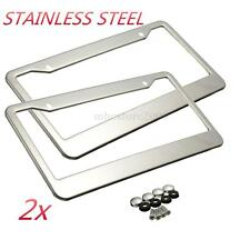 2pcs Sliver Metal Stainless Steel License Plate Frames W/ Screw Caps Tag Cover