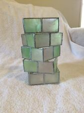 Pretty Mother Of Pearl Lampshade Offset Squares Silver, Apple Green