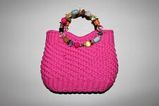 Cappelli Pink Straw Purse Handbag Multicolor Beaded Handles