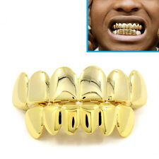 Chapado en Oro 24k Grillz Dientes Boca Parrillas Top Parte inferior Bling Hip Hop Gangster Rap