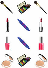 Novelty *NEW* GLAMOUROUS MAKE UP MIX 12 STAND UP Edible Cake Toppers Birthday