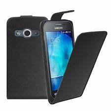 BLACK Leather Flip Case Cover Pouch For Samsung Galaxy Xcover 3 (SM-G388F)