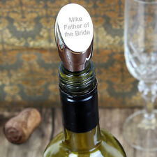 Elegant Engraved Silver Plated Wine Bottle Stopper - Personalised Gift Wedding