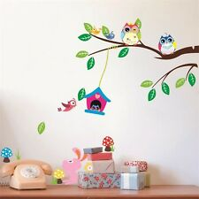 Forest Owl Tree Bird Quote Wall Sticker Home Wall Decor Kids Room Decal Mural