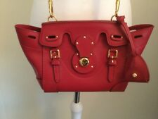 Ralph Lauren Ricky Red Leather Gold Leather Lined Iconic Crossbody Bag