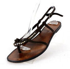 LANVIN Brown Leather & Satin Crystal Embellished Flat Sandals 40
