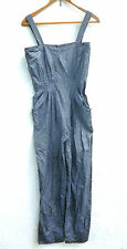 Vintage 1980s Grey Blue Faux Snake Skin Jumpsuit All-in-One Catsuit 12