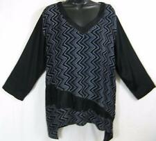 T371~TIENDA HO~Black~NOTHING MATCHES~CHEVRON DESIGN~Rayon Top~SHARKBITE~l/s~OS