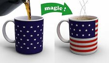 Stars & Stripes American Flag Thermometer Heat Color Changing Tea Coffee Mug Cup