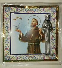 "SAINT FRANCIS OF ASSISI CATHOLIC POCKET STATUE & 3"" X 3"" GOLD STAMPED HOLY CARD"