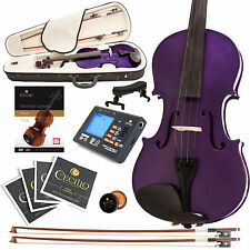 CECILIO SIZE 4/4 SOLIDWOOD STUDENT VIOLIN METALLIC PURPLE +TUNER+BOOK
