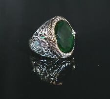 Turkish Handmade Ottoman 925K Sterling Silver Emerald Men's Ring Size 10.5