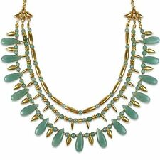 Gold-Plated Egyptian Cleopatra Green Aventurine Lotus Warrior Necklace, 20""