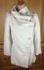 Metropark Womens Winter White Polyester Textured Button Down Coat Lined Cow Neck
