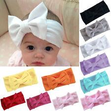 Baby Girls  Toddler Bow Hairband Headband Stretch Turban Knot Head Wrap   White