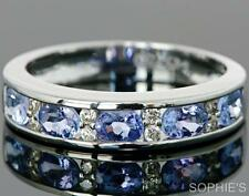 1ct Natural Tanzanite Diamond Channel Set Wedding Band Ring Solid 14K White Gold
